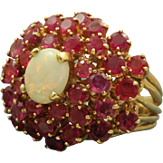 SALE 14 K Estate Opal and Ruby Princess Ring