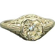 18 K 1.10 CT Old European Cut Diamond Filigree Ring