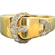 SALE Estate 18 K/Platinum Diamond Buckle Ring