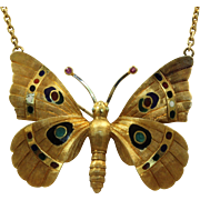 Estate 18 K Etruscan Revival Enamel Butterfly Necklace with Rubies