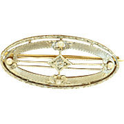SALE 14 K/Platinum Krementz Diamond Pin