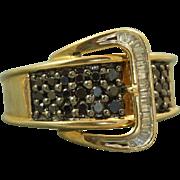 SALE Estate 14 K Sapphire and Diamond Buckle Ring