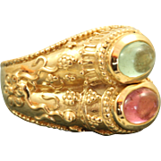 SALE Estate 14 K Double Tourmaline Kabana Etruscan Ring