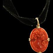 SOLD Vintage 12 K Salmon Coral Cameo Pendant