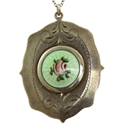 SALE Sterling Guilloche Enamel Locket
