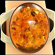 SALE PENDING Estate Large Baltic Sea Amber Sterling Bracelet