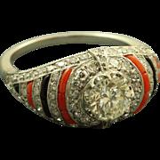 SALE Platinum Estate Art Deco 0.95 CT Old European Cut Diamond Coral Onyx Ring
