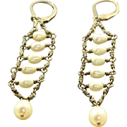 Estate Sterling Pearl Dangle Earrings