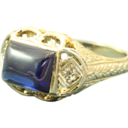 SALE Estate 20 KW Filigree Blue Stone Diamond Ring