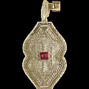 SALE Estate 10 K/18 K Filigree Garnet Pendant