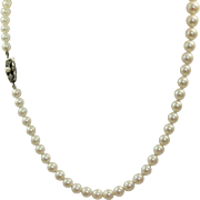 "Vintage Mikimoto 20"" Graduated Pearl Necklace with Sterling Clasp"
