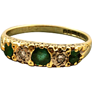 SALE 18 CT Birmingham Emerald and Diamond Five Stone Ring