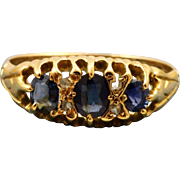 Edwardian 18 CT Graduated Sapphire and Old European Cut Diamond Ring