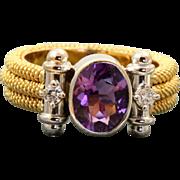 Estate 18 K Two Tone Modernist Amethyst Diamond Ring