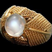 Estate 18 K 3 CT Moonstone Textured Ring