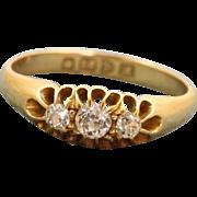 SALE Chester 1912 18 CT Three Stone Diamond Ring