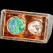 SALE Estate 14 K Scandinavian Modernist 0.85 CT Rose Cut Diamond Opal Ring