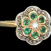 Estate 14 K Rose Gold Rose Cut Diamond and Emerald Ring