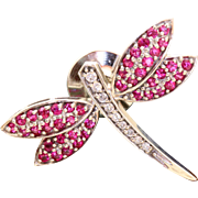 Estate 14 K Diamond and Pink Sapphire Firefly Pin