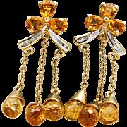 Estate 10 k 8 CT Citrine Dangle Earrings