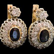 Estate Sapphire and Diamond Earrings