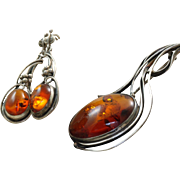 Estate Sterling Honey Amber Brooch and Earring Set