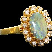 Estate 14 K Black Opal and Diamond Ring
