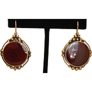 14 K Rose Gold Late Victorian Agate Ear Pendants
