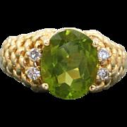 Estate 14 K 6CT Peridot and Diamond Ring