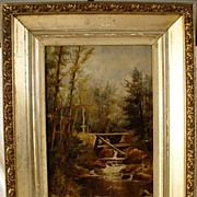 SALE Antique Oil On Board White Mountain School With Period Frame