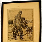 SALE Modern Masters Of Etching Frank W Benson Book & Framed Art