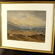 SALE Signed Scenic Watercolor By Sabina Jervis Edwards With Frame