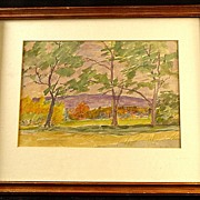 SALE Vintage Watercolor Impressionist Painting by Vermont Artist