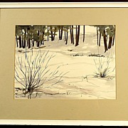 SALE Nice Winter Scene Watercolor Painting Signed Bill Steeves