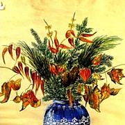 SALE Antique Floral Still Life Water Color Framed under Glass