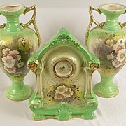 SALE Lovely Set of Vintage Hand Painted Clock With Matching Urns