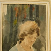 SALE Vintage Watercolor of a Woman Signed