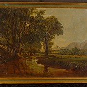 SALE Antique Oil on Canvas Painting Artist Brook White Mountains New Hampshire