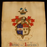 SALE Antique Hand Painted Family Coat Of Arms Barton & Larkin Family