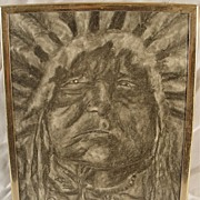 SALE Vintage Charcoal/Graphite Drawing Native American Chief