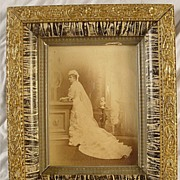 SALE Antique Gesso Frame with Black Marbelization and Stenciled Inner Cove