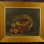 SALE Antique Oil On Canvas Still Life Painting of Apples In A Hat Framed