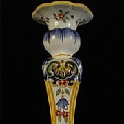 SALE Antique Fourmaintraux-Courquin Hand Painted Desvres Candlestick