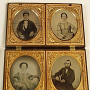 SALE Four Ruby Ambrotype Portraits in one Large Gutta Percha Case
