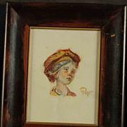 SALE Miniature Gouache Portrait Young Girl Artist Signed
