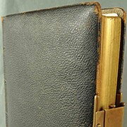 SALE Antique Leather Photo Album With Clasp and Many Period Pictures