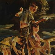 "SALE Vintage 1939 John E Costigan Print ""Fisherman Three"""
