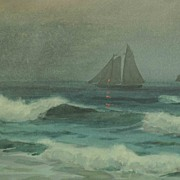 SALE Outstanding Large Watercolor Seascape Sailing Ships off the Shore
