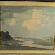 SALE Vintage Impressionist Oil on Canvas Seashore Painting Lynn Marsh