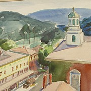 SALE Watercolor of Peterborough, NH By Listed Artist Charlotte Blass (1908-1981)